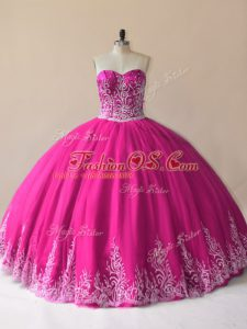 High Quality Fuchsia Ball Gowns Sweetheart Sleeveless Tulle Floor Length Lace Up Embroidery Vestidos de Quinceanera
