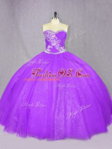 Affordable Lavender Sleeveless Floor Length Beading Lace Up Sweet 16 Dress