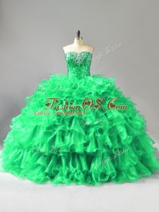 Wonderful Sleeveless Beading and Ruffles Lace Up Quince Ball Gowns with Green