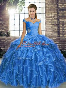 New Arrival Off The Shoulder Sleeveless Sweet 16 Quinceanera Dress Brush Train Beading and Ruffles Blue Organza