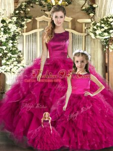 Shining Fuchsia Sleeveless Tulle Lace Up 15 Quinceanera Dress for Military Ball and Sweet 16 and Quinceanera