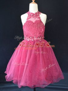 Organza Sleeveless Mini Length Little Girl Pageant Gowns and Beading and Lace