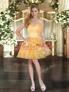 Custom Design Mini Length Ball Gowns Sleeveless Gold Celebrity Prom Dress Lace Up