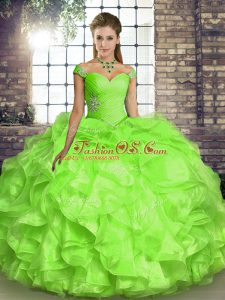Low Price Yellow Green Ball Gowns Organza Off The Shoulder Sleeveless Beading and Ruffles Floor Length Lace Up Vestidos de Quinceanera
