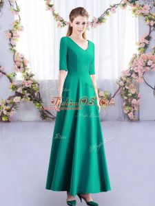 Turquoise Damas Dress Wedding Party with Ruching V-neck Half Sleeves Zipper
