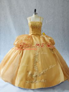 Dramatic Floor Length Lace Up Sweet 16 Quinceanera Dress Gold for Sweet 16 and Quinceanera with Appliques