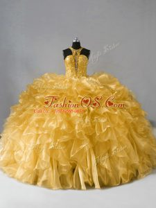 Beading and Ruffles Ball Gown Prom Dress Gold Zipper Sleeveless Floor Length