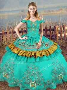 Ideal Turquoise Lace Up Off The Shoulder Embroidery Vestidos de Quinceanera Satin Sleeveless