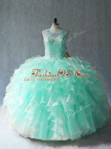 Super Apple Green Sleeveless Organza Lace Up Vestidos de Quinceanera for Sweet 16 and Quinceanera