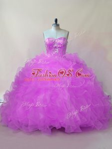 Top Selling Lilac Quinceanera Gown Sweet 16 and Quinceanera with Beading and Ruffles Sweetheart Sleeveless Lace Up
