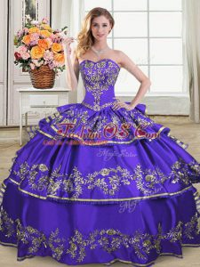 Embroidery and Ruffled Layers Quinceanera Gowns Purple Lace Up Sleeveless Floor Length