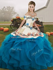 Sleeveless Floor Length Embroidery and Ruffles Lace Up Quinceanera Dress with Blue And White