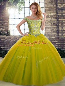 Modern Beading Quinceanera Dress Olive Green Lace Up Sleeveless Floor Length