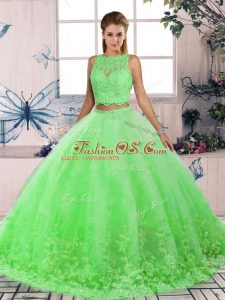 Flirting Green Sweet 16 Dresses Scalloped Sleeveless Sweep Train Backless