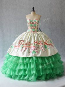 Most Popular Floor Length Lace Up 15 Quinceanera Dress Apple Green for Sweet 16 and Quinceanera with Embroidery and Ruffled Layers