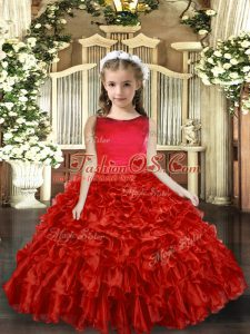 Floor Length Red Pageant Gowns For Girls Scoop Sleeveless Backless