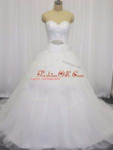 Trendy Sweetheart Sleeveless Court Train Clasp Handle Wedding Dresses White Organza