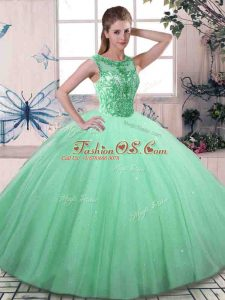 Fine Apple Green Ball Gowns Beading 15th Birthday Dress Lace Up Tulle Sleeveless Floor Length