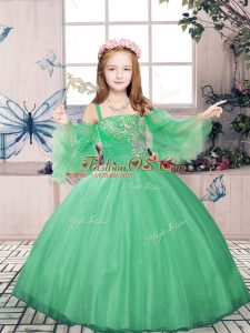 Nice Green Sleeveless Tulle Lace Up Little Girl Pageant Gowns for Party and Sweet 16 and Wedding Party