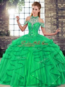 Best Sleeveless Floor Length Beading and Ruffles Lace Up Quinceanera Gown with Green