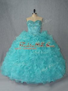 Hot Sale Sweetheart Sleeveless Organza Quinceanera Gown Beading and Ruffles Lace Up