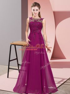 Lovely Chiffon Sleeveless Floor Length Wedding Party Dress and Beading and Appliques
