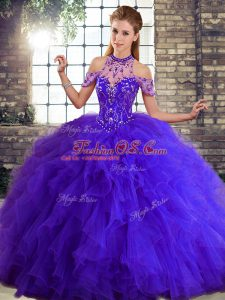 Sleeveless Tulle Floor Length Lace Up Quinceanera Dresses in Purple with Beading and Ruffles