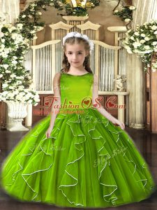 Simple Olive Green Scoop Neckline Ruffles Kids Formal Wear Sleeveless Lace Up
