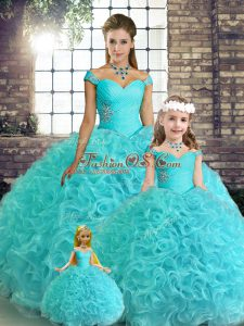 Nice Aqua Blue Fabric With Rolling Flowers Lace Up Vestidos de Quinceanera Sleeveless Floor Length Beading
