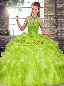 Unique Olive Green Sleeveless Organza Lace Up Vestidos de Quinceanera for Military Ball and Sweet 16 and Quinceanera