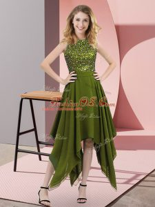 Great Sleeveless Chiffon Asymmetrical Zipper Homecoming Dress in Olive Green with Beading and Sequins