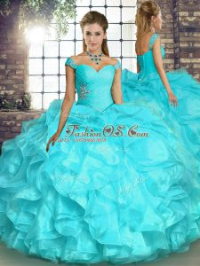 Smart Aqua Blue Organza Lace Up Quinceanera Dresses Sleeveless Floor Length Beading and Ruffles