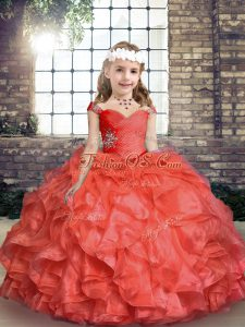 Sweet Floor Length Lace Up Little Girls Pageant Dress Wholesale Coral Red for Party and Sweet 16 and Wedding Party with Beading and Ruching
