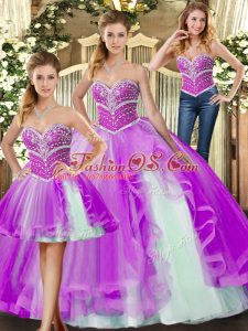 Simple Lilac Sweet 16 Dresses Sweet 16 and Quinceanera with Beading Sweetheart Sleeveless Lace Up