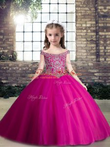 Unique Tulle Sleeveless Floor Length Little Girl Pageant Dress and Beading