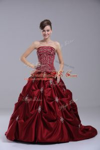 Wine Red Ball Gowns Beading and Embroidery Wedding Gowns Lace Up Taffeta Sleeveless