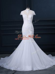 Deluxe White Mermaid Lace Wedding Dresses Clasp Handle Tulle Cap Sleeves