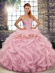 Exceptional Pink Ball Gowns Tulle Sweetheart Sleeveless Beading and Ruffles Floor Length Lace Up Sweet 16 Dress