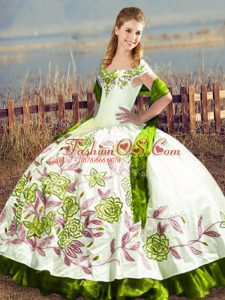 Artistic Olive Green Sleeveless Embroidery Floor Length 15th Birthday Dress