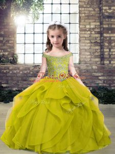Elegant Beading Child Pageant Dress Olive Green Lace Up Sleeveless Floor Length