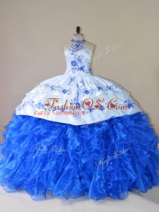 Royal Blue Ball Gowns Organza Halter Top Sleeveless Embroidery and Ruffles Lace Up Ball Gown Prom Dress Court Train