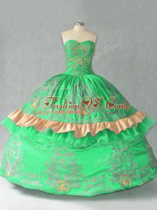 Cheap Green Ball Gowns Embroidery and Bowknot Sweet 16 Quinceanera Dress Lace Up Organza Sleeveless Floor Length