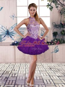 Purple Tulle Lace Up Prom Dress Sleeveless Mini Length Beading and Ruffles