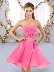 Sleeveless Ruching Lace Up Quinceanera Dama Dress