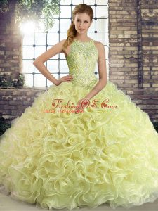 Yellow Green Scoop Lace Up Beading 15 Quinceanera Dress Sleeveless
