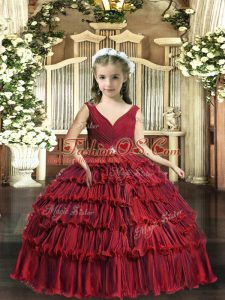 Red Backless V-neck Beading and Ruffled Layers Little Girls Pageant Dress Wholesale Sleeveless