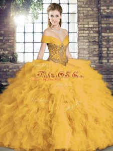 Floor Length Gold 15 Quinceanera Dress Off The Shoulder Sleeveless Lace Up