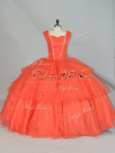 Orange Red Ball Gowns Organza Straps Sleeveless Beading and Ruffled Layers Floor Length Lace Up Quinceanera Gown