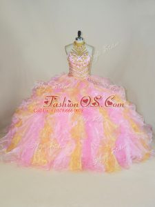 Decent Multi-color Lace Up Sweet 16 Dresses Beading and Ruffles Sleeveless Floor Length
