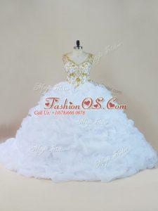 Trendy White Sleeveless Beading and Pick Ups Lace Up Sweet 16 Dresses